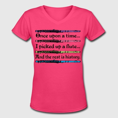 Flute Music Cute Quote - Women's V-Neck T-Shirt