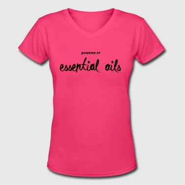 Powered By - Women's V-Neck T-Shirt