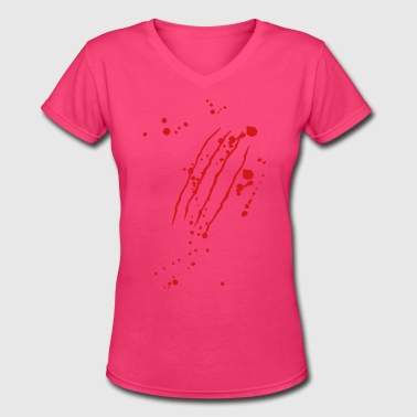 Scratch mark with blood - Women's V-Neck T-Shirt
