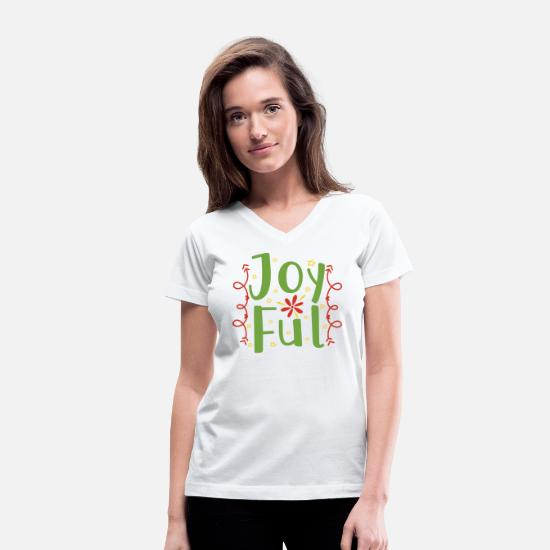 Christmas Present T-Shirts - Joyful Christmas - Women's V-Neck T-Shirt white