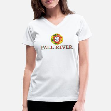 Fall Fall River Portugal Portuguese Flag - Women's V-Neck T-Shirt