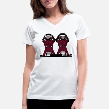 Duo duo friends 2 team couple dj party celebrate music - Women's V-Neck T-Shirt