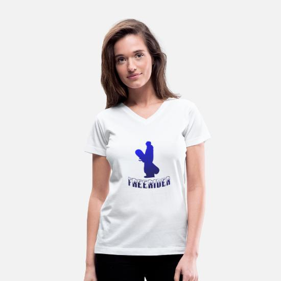 Freestyle T-Shirts - Snowboarder snowboarding freerider snow - Women's V-Neck T-Shirt white