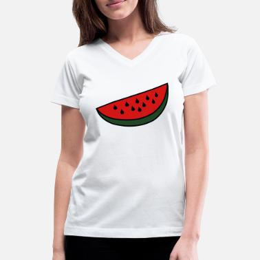Wedge Watermelon Wedge - Women's V-Neck T-Shirt