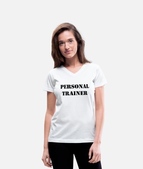 Personal Trainer T-Shirts - Personal trainer - Women's V-Neck T-Shirt white