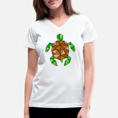 GEOMETRIC TURTLE - Women's V-Neck T-Shirt