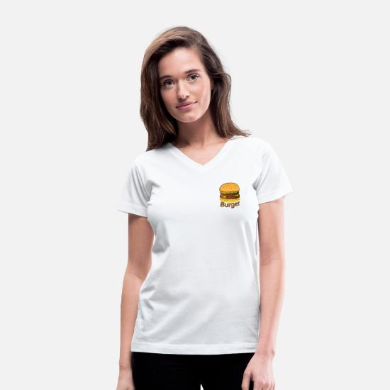 Gift Idea T-Shirts - Tasty Burger - Women's V-Neck T-Shirt white