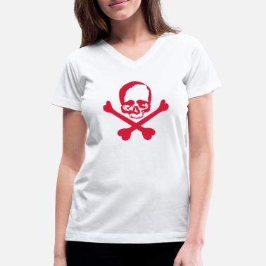Crossed Bones skull and crossed bones - Women's V-Neck T-Shirt