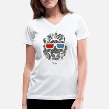 3d Cool Lion With Glasses - Women's V-Neck T-Shirt