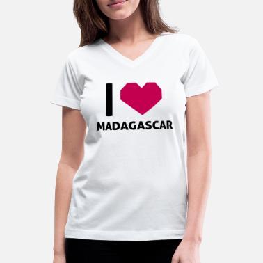 I Love Heart Madagascar V-Neck T-Shirt
