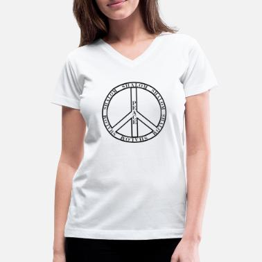 Hebräisch Peacesymbol mit Shalom - Women's V-Neck T-Shirt