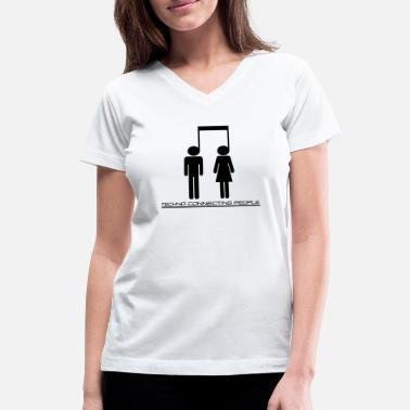 Connecting People Techno connecting people - Women's V-Neck T-Shirt