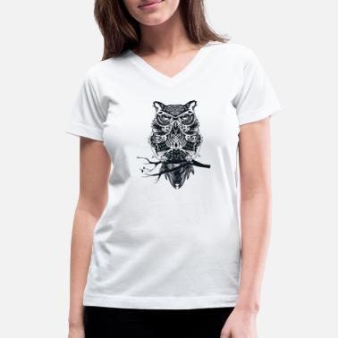 Wisdom Owl on a branch - wisdom, wisdom - Women's V-Neck T-Shirt