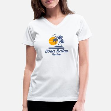 Boca Raton Florida Shirt Beach Tourist Souvenir - Women's V-Neck T-Shirt