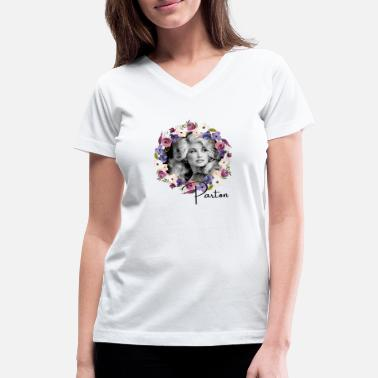 Beg Dolly Parton - Floral Purple Dolly Parton Gift - Women's V-Neck T-Shirt