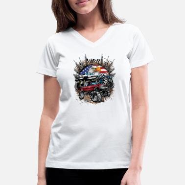 Mud Truck Mega Mud Trucks USA - Women's V-Neck T-Shirt