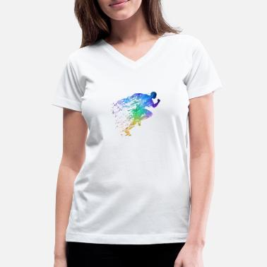 Field Track and Field Sprinter - Women's V-Neck T-Shirt
