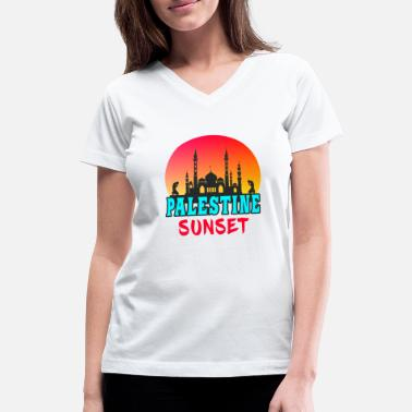 Mosque Palestine Sunset Mosque Gift Arabia - Women's V-Neck T-Shirt