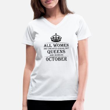 b585a32da Funny Birthday Women October - Women's V-Neck ...