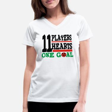 One Goal 11 players 11 hearts One Goal - Women's V-Neck T-Shirt
