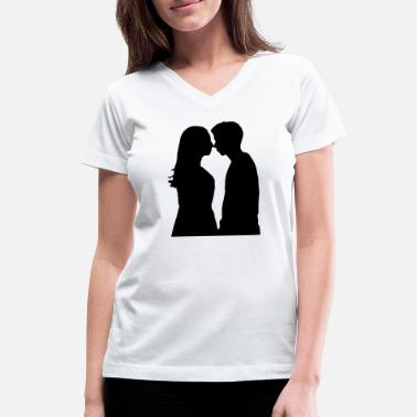Girlfriend Love Boyfriend Relationships Girlfriend And Boyfriend Silhouette - Women's V-Neck T-Shirt