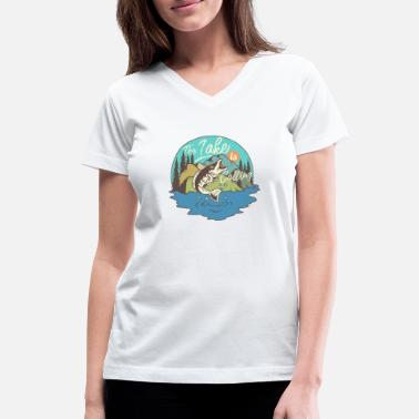 Fishing Lake Big Fish - The Lake is Calling - Women's V-Neck T-Shirt