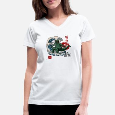 Japanese Wave cool the great wave surfing monster japanese - Women's V-Neck T-Shirt