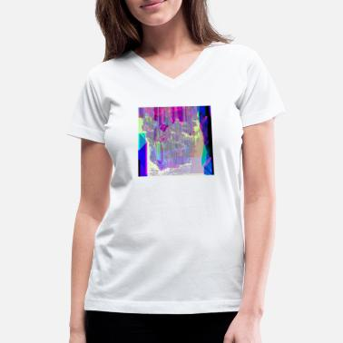 Glitch Cool-Colored Glitch Art - Women's V-Neck T-Shirt
