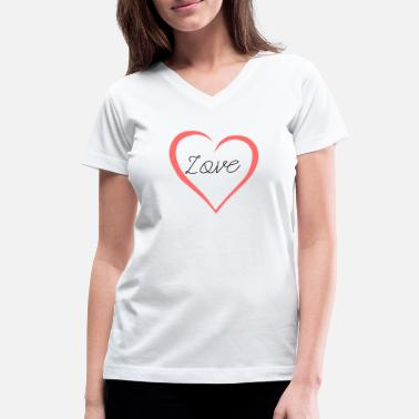 Heart Curve Love Lettering Curved Heart As A Gift - Women's V-Neck T-Shirt