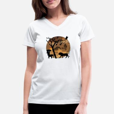 Safari Safari African Jungle Wild Animals t-shirts - Women's V-Neck T-Shirt