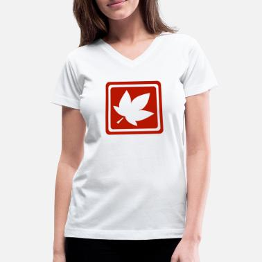Autumn Logo Leave in autumn - Women's V-Neck T-Shirt