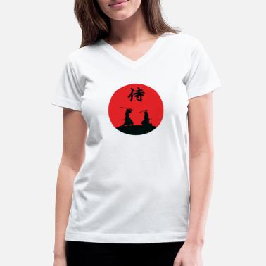 Samurai Samurai battle hieroglyph - Women's V-Neck T-Shirt