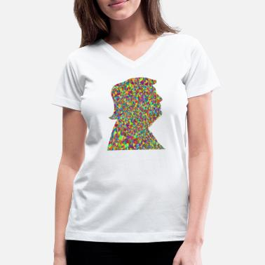 Silhouette Polychromatic Low Poly Trump Profile Silhouette - Women's V-Neck T-Shirt