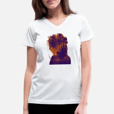 Online Very Creative Double Exposure on Portraits - Women's V-Neck T-Shirt