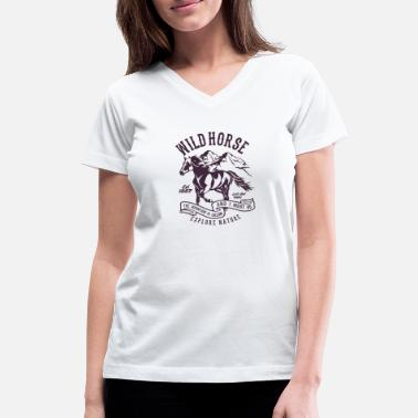 Wild Horse Horse Racing Explore Mountain Wild Horse - Women's V-Neck T-Shirt