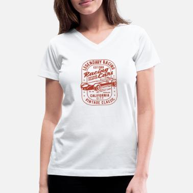 Race Car Legendary Racing Cars - Women's V-Neck T-Shirt