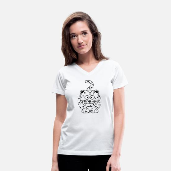 Lynx T-Shirts - WHITE cheetah - Women's V-Neck T-Shirt white
