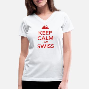 Lugano KEEP CALM I AM SWISS - Women's V-Neck T-Shirt