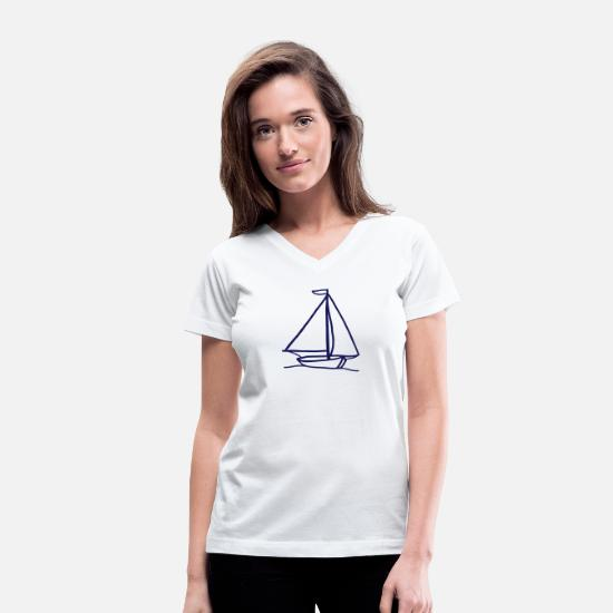 Sail Boat T-Shirts - Sailboat - Women's V-Neck T-Shirt white
