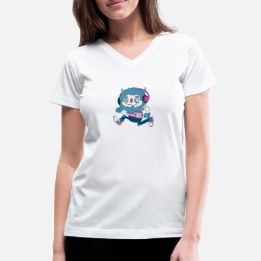 Funky Funky Monster Beats - Women's V-Neck T-Shirt
