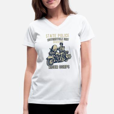 State Police Nj State Police Motorcycle Unit Division Rider Corps - Women's V-Neck T-Shirt