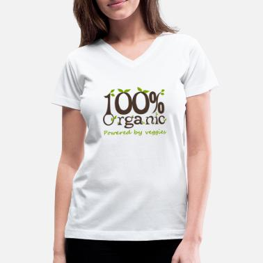 Veggies 100% Organic Powered By Veggies - Women's V-Neck T-Shirt