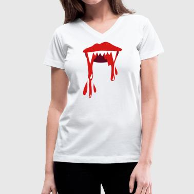 vampire lips with lots of blood - Women's V-Neck T-Shirt