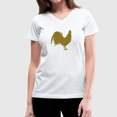 rooster cock simple outline - Women's V-Neck T-Shirt