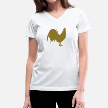 Cock Outline rooster cock simple outline - Women's V-Neck T-Shirt