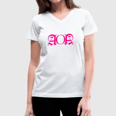 AOA Hoodie Glow In The Dark Wording F - Women's V-Neck T-Shirt