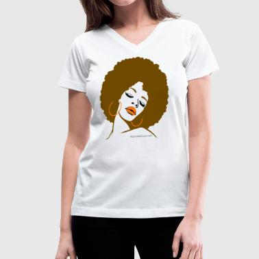 Afro Diva (Brown Hair) - Women's V-Neck T-Shirt