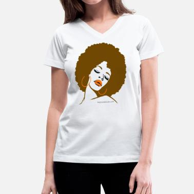 Afro Afro Diva (Brown Hair) - Women's V-Neck T-Shirt