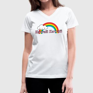 Hawaii Kawaii Rainbow - Women's V-Neck T-Shirt