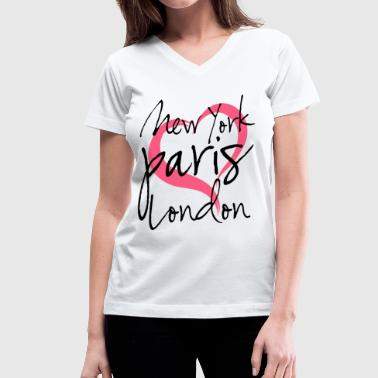 New York, Paris, London with Heart - Women's V-Neck T-Shirt